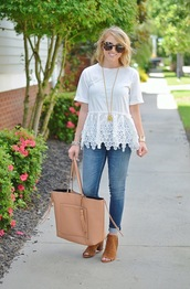 something delightful,blogger,t-shirt,sunglasses,jewels,shoes,bag,top,white top,lace top,white lace top,peplum top,peplum,short sleeve,eyelet detail,eyelet top,necklace,blue jeans,tote bag,nude bag,tortoise shell,tortoise shell sunglasses,booties,peep toe boots,brown shoes,thick heel,tassel,cuffed jeans,block heels,stacked wood heels