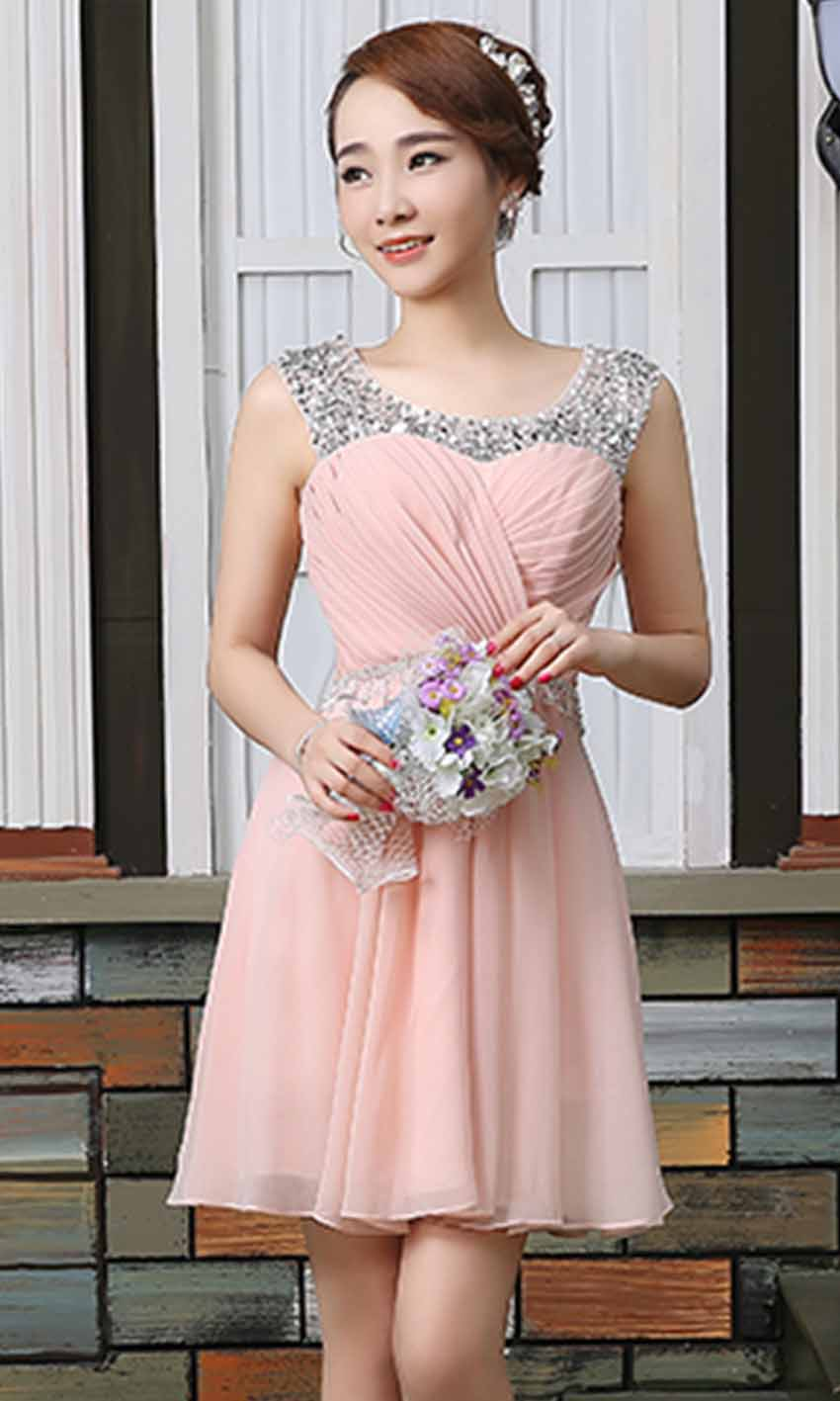 Girly Pink Jeweled Illusion Short Prom Dresses UK KSP383 [KSP383 ...