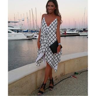 dress grid floaty love similar summer wedding guest flowy dress asymmetrical dress monochrome blackandwhitedress