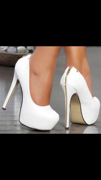 shoes heels white zipper