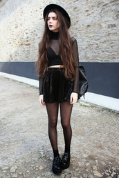 top,velvet,skirt,skater skirt,heels,platform shoes,lace,mesh,mesh top,crop tops,crop,cropped,chunky sole,chunky boots,grunge,fashion,cool,cute,rock,black,dark,hat,bag,creepy,all black everything