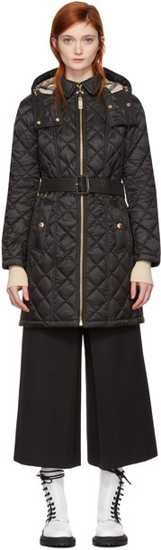 Burberry coat long quilted black