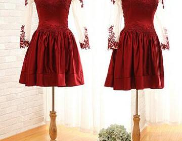 Charming burgundy sweetheart knee l..