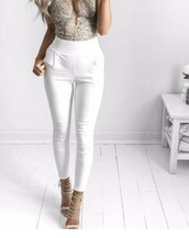 pants,white,white pants,gold,high waisted,jeans,white trousers,heels