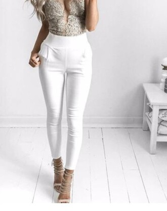 pants white white pants gold high waisted jeans white trousers heels