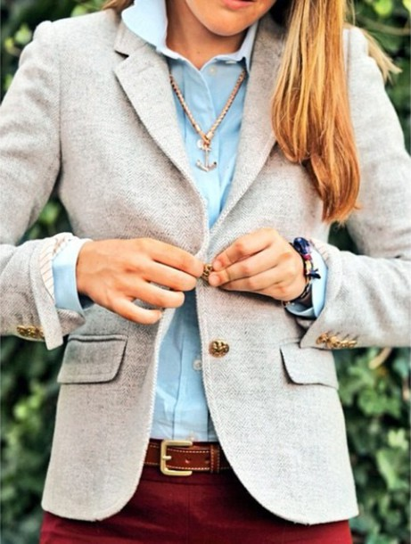 jacket grey blazer anchor boyish coat belt brown belt blouse jeans red trousers tweed wool prep preppy