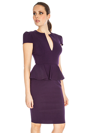 Deep V Peplum Dress