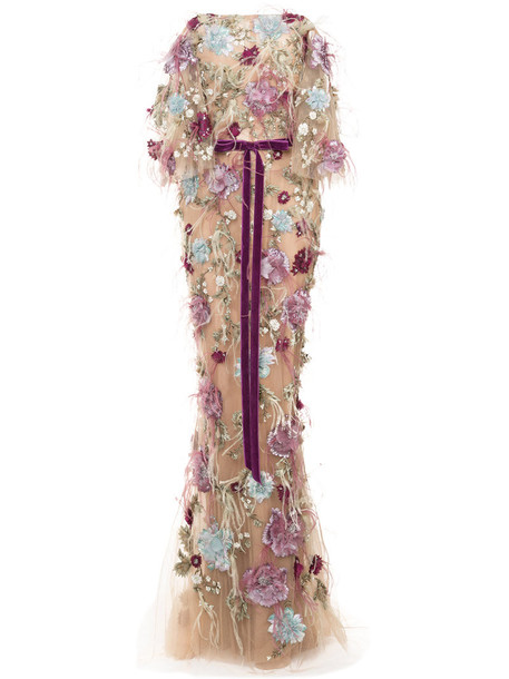 Marchesa dress maxi dress maxi embroidered women floral nude silk