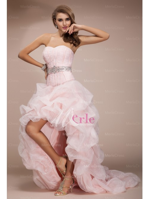 Line/princess sweetheart sleeveless asymmetrical beading organza dresses