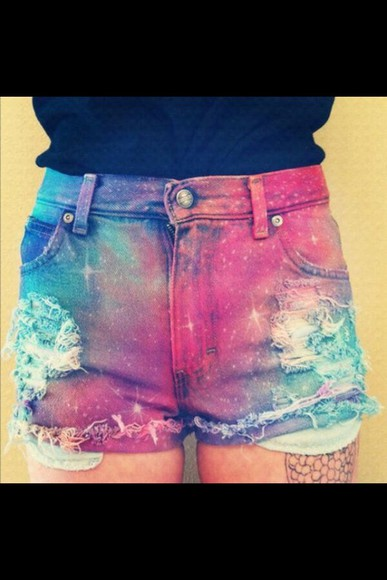 galaxy print shorts galaxy shorts colorful colourful colourful shorts