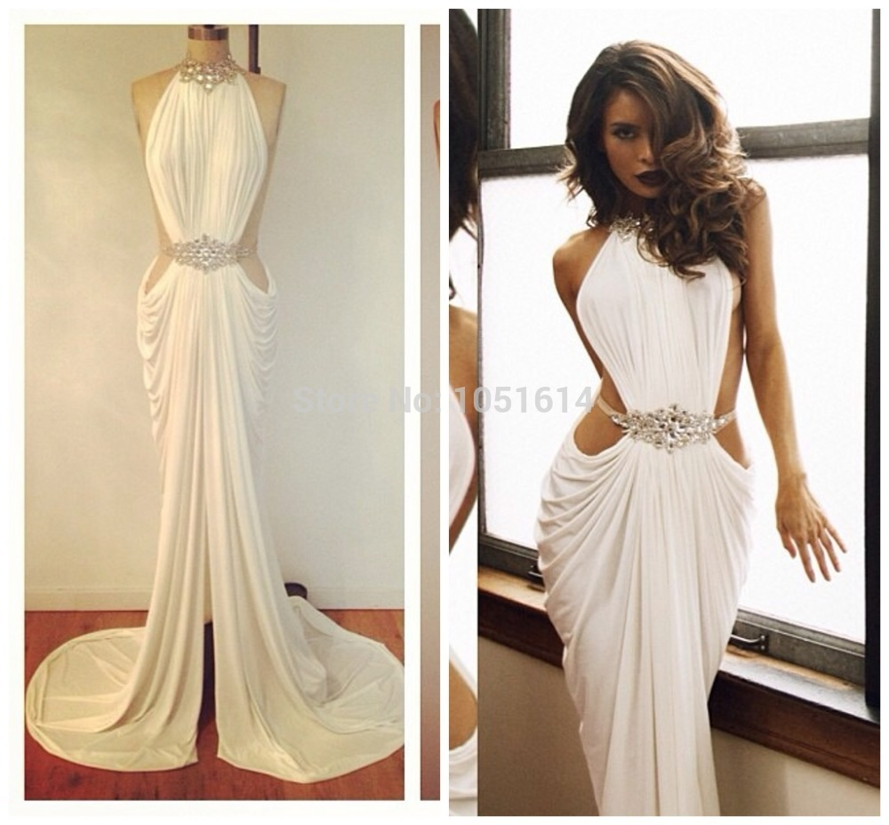 Gorgeous Real Sample Halter Neckline Mermaid Beaded Crystal White Ruffle Chiffon Long Backless Evening Dress Custom Made 2014-in Evening Dresses from Apparel & Accessories on Aliexpress.com | Alibaba Group