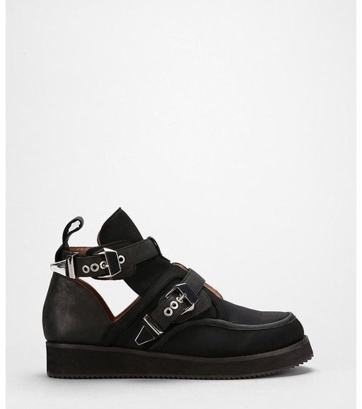 shoes low boots ankle boots creepers cutout ankle boots