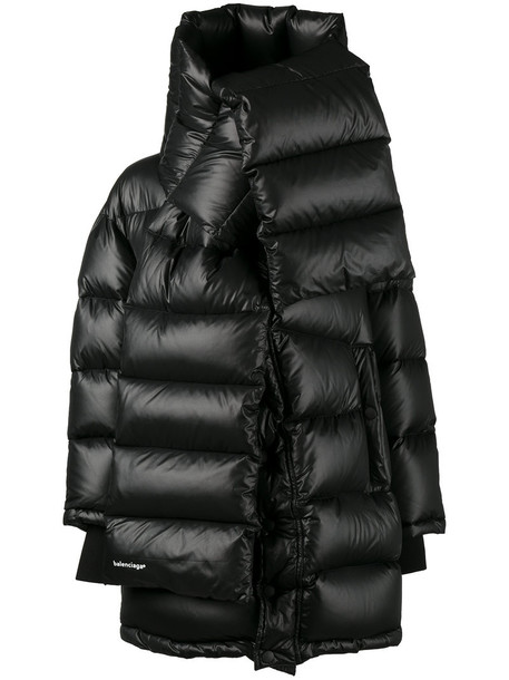 Balenciaga coat feathers women black