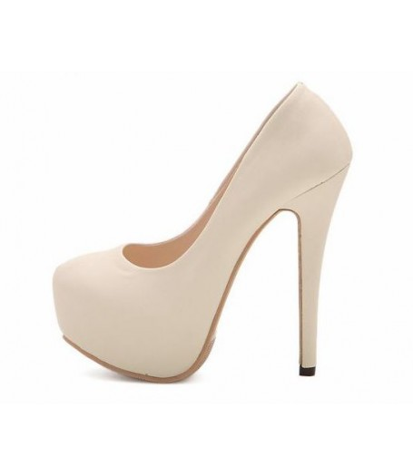Cream Hidden Platform High Heel Pumps