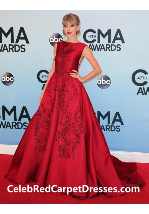 Taylor Swift Embroidered Red Satin Gown CMA Awards 2013 Red Carpet Dress