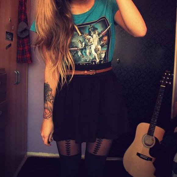 star wars star wars t-shirt underwear tights heart heart tights shirt skirt black high waisted blue t-shirt edgy clothes Belt t-shirt