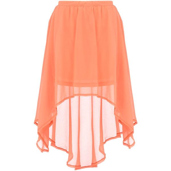 Peach dip hem skirt - Dorothy Perkins - Polyvore