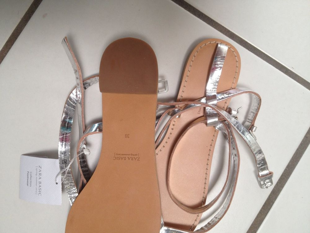 Zara Silver Strappy Gladiator Sandals Double Strap Sz 38 7 5 Leather New | eBay