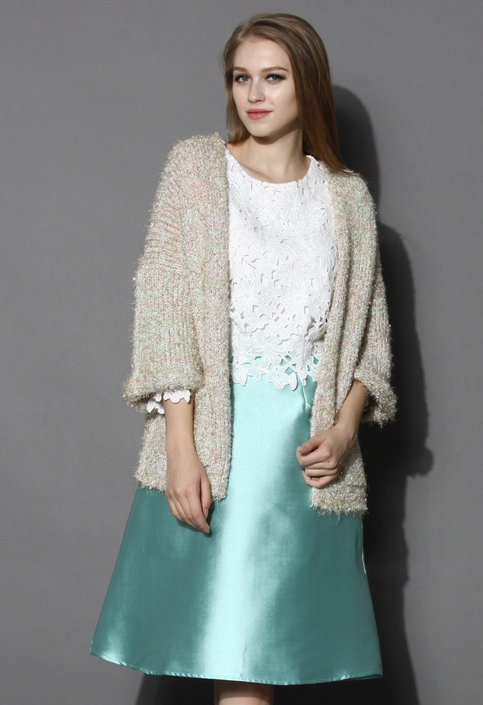 Shimmery Fluffy Oversized Knitted Cardigan - Retro, Indie and Unique Fashion