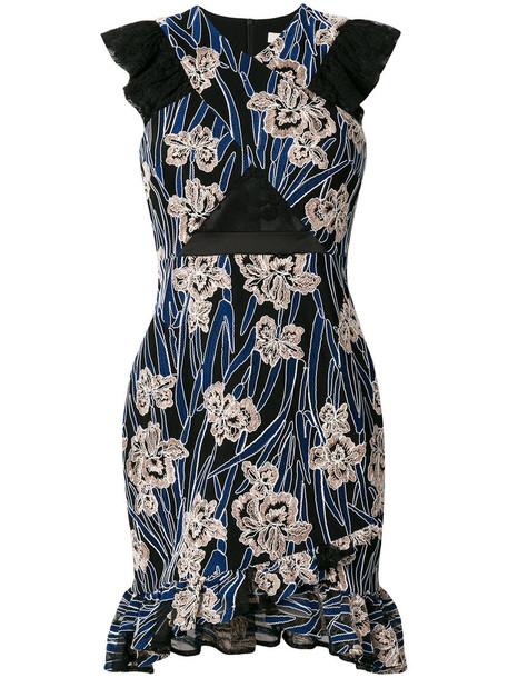 Three Floor dress print dress women floral print blue