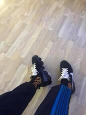 pants,cropped track pants,striped pants,streetwear,hype,socks