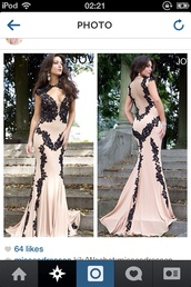 dress,nude,and,black,lace,long,tight,beautiful,prom