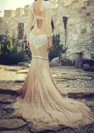 dress long sleeves long sleeve dress white dress nude dress long dress mermaid prom dress