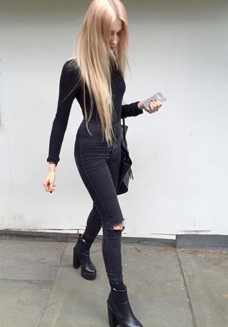 shoes black outfit black platform skinny jeans ripped jeans ripped skinny jeans platform shoes platform boots chunky boots chunky heels jeans