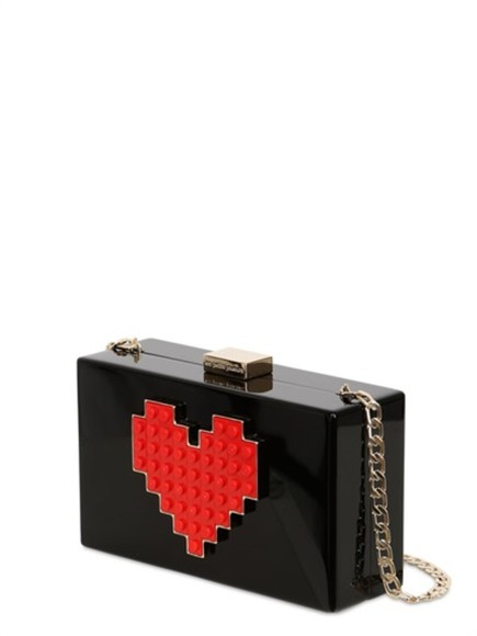 bag clutch black grace lolita heart les petits joueurs heart red