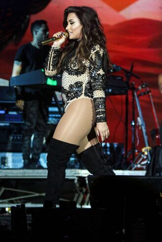 top bodysuit long sleeves demi lovato over the knee boots beaded