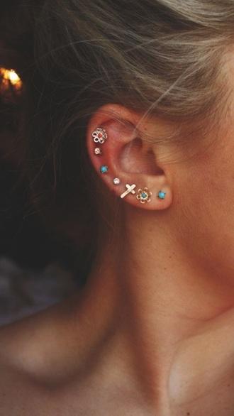 jewels earrings cross earring turquoise flowers jewelry cross studs