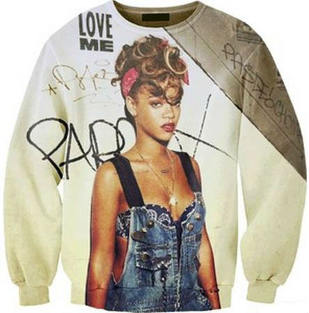 Custom Print Rihanna Lightweight Sweatshirt from Tumblr Fashion on