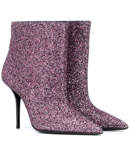 Saint Laurent Pierre 95 glitter ankle boots in pink