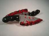 hair accessory,jewels,dexter,dexter morgan,blood,blood splatter sweatshirt,blades,knife necklace