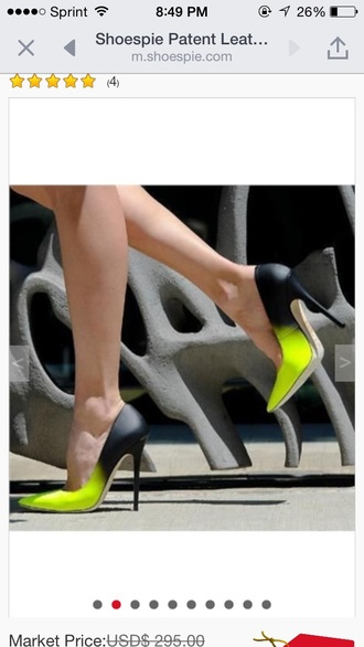 shoes heels pumps neon neon yellow black heels