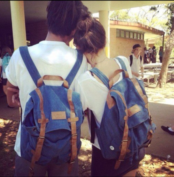 bag backpack blue denim backpack denim brown buckles