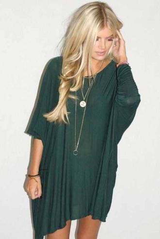 dress t-shirt dress t-shirt green dark green fall outfits casual comfy
