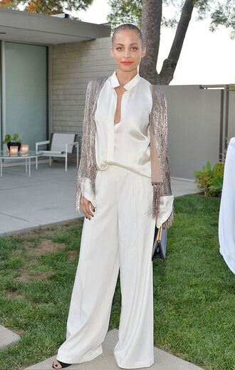 cardigan fringes nicole richie wide-leg pants blouse shirt white white blouse metallic pants