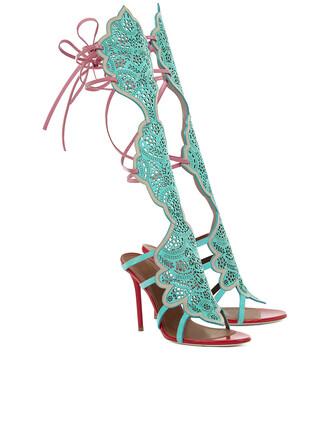 high sandals aqua