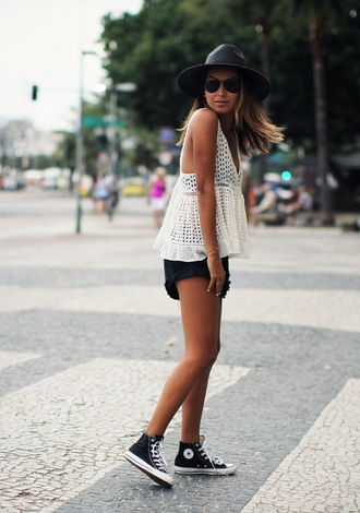 sincerely jules blogger shorts hat white top summer outfits converse date outfit top shoes