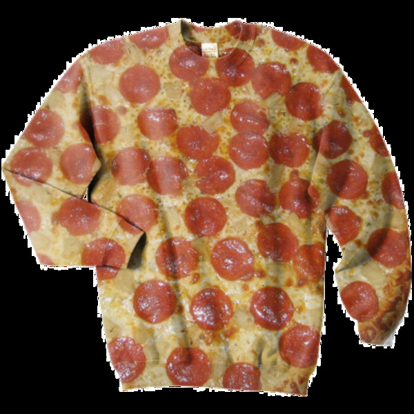 sweater pizza food chorizo oversized