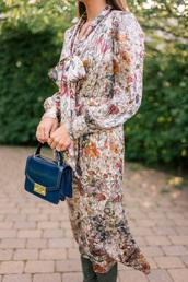 dress,blue bag,tumblr,midi dress,fall outfits,fall dress,long sleeves,long sleeve dress,bag,floral
