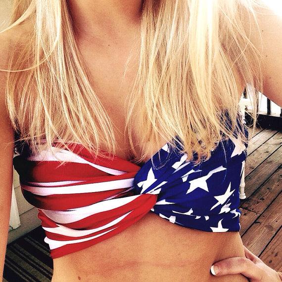 American flag patriotic twist bandeau by beehipster on etsy