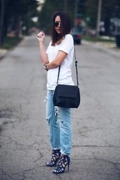 fashionably kay,blogger,blue heels,ripped jeans,white t-shirt,spring outfits,stilettos,black bag,aviator sunglasses,white top,casual,summer outfits
