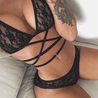 underwear lingerie swimwear bralette lace bra panties black tie up lace lingerie