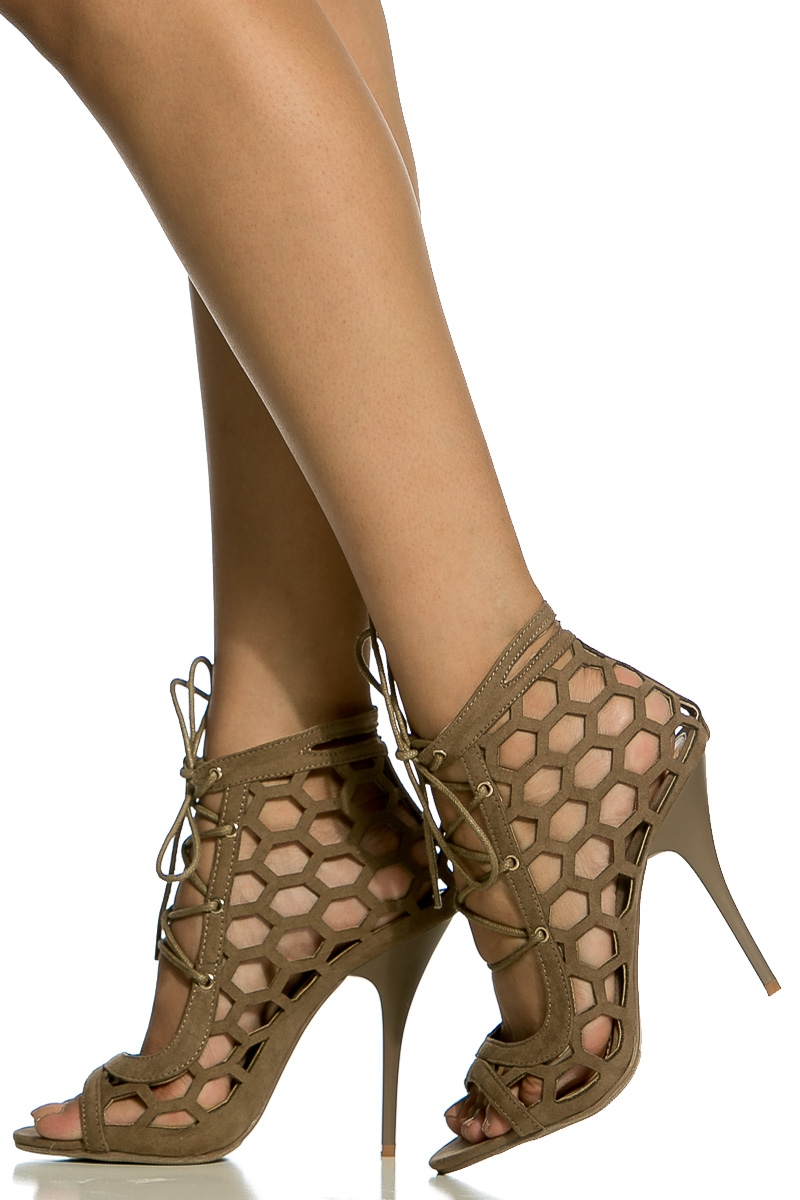 cd638ab28ff Taupe Faux Suede Cut Out Lace Up Single Sole Heels @ Cicihot Heel Shoes  online store sales:Stiletto Heel Shoes,High Heel Pumps,Womens High Heel ...