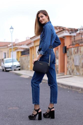marilyn's closet blog blogger jeans shirt shoes socks bag jewels belt shoulder bag denim shirt sandals