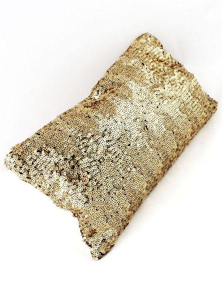 Gold Sequined Zipper Clutch Bag - Sheinside.com