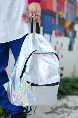 bag backpack holographic hologram beautiful gorgeous street style colorful rainbow metalic