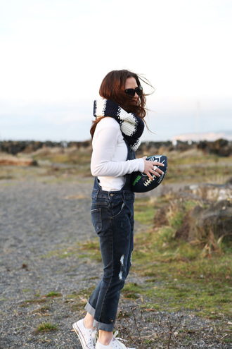 dress corilynn blogger scarf knitted scarf denim overalls converse